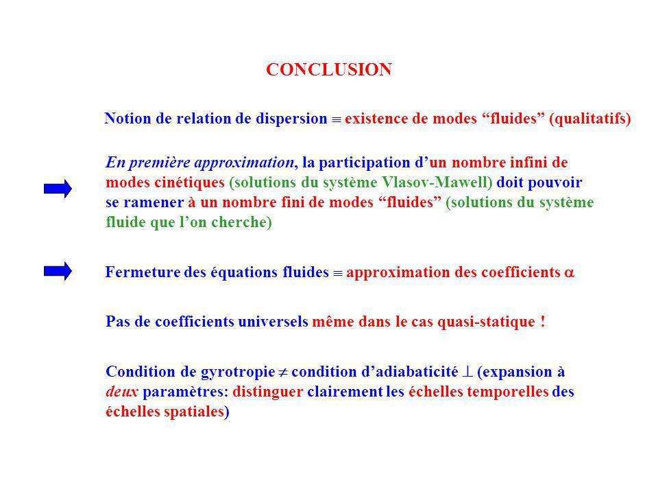 CONCLUSION Fermeture des équations fluides approximation des coefficients Notion de relation de dispersion existence de modes fluides (qualitatifs) En
