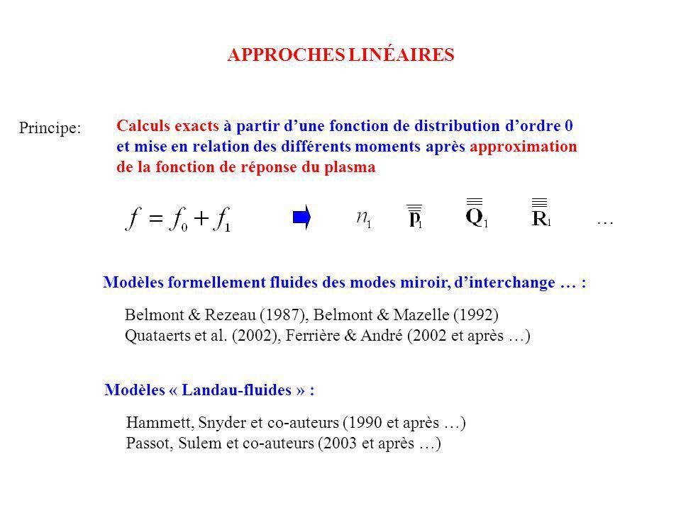 APPROCHES LINÉAIRES Principe: Calculs exacts à partir dune fonction de distribution dordre 0 et mise en relation des différents moments après approxim