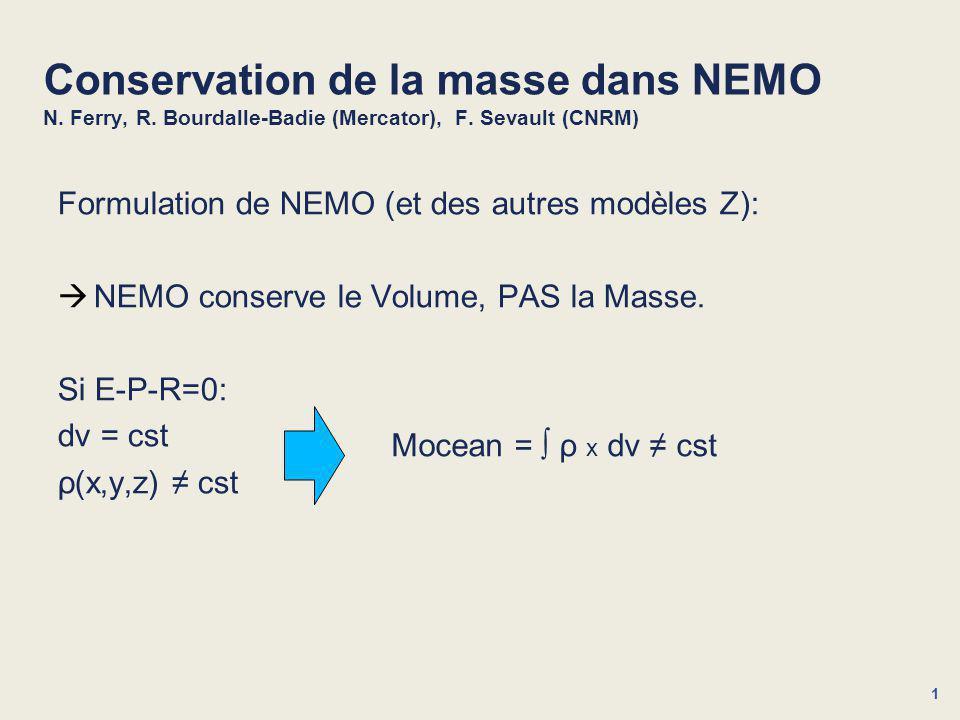 1 Conservation de la masse dans NEMO N. Ferry, R.