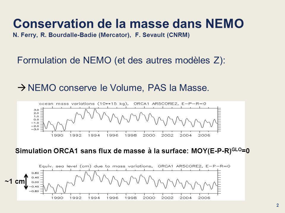 3 Conservation de la masse dans NEMO N.Ferry, R. Bourdalle-Badie (Mercator), F.