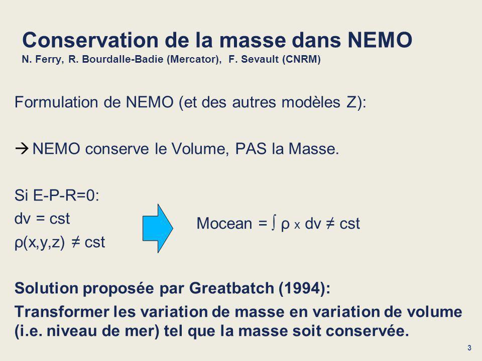 3 Conservation de la masse dans NEMO N. Ferry, R.