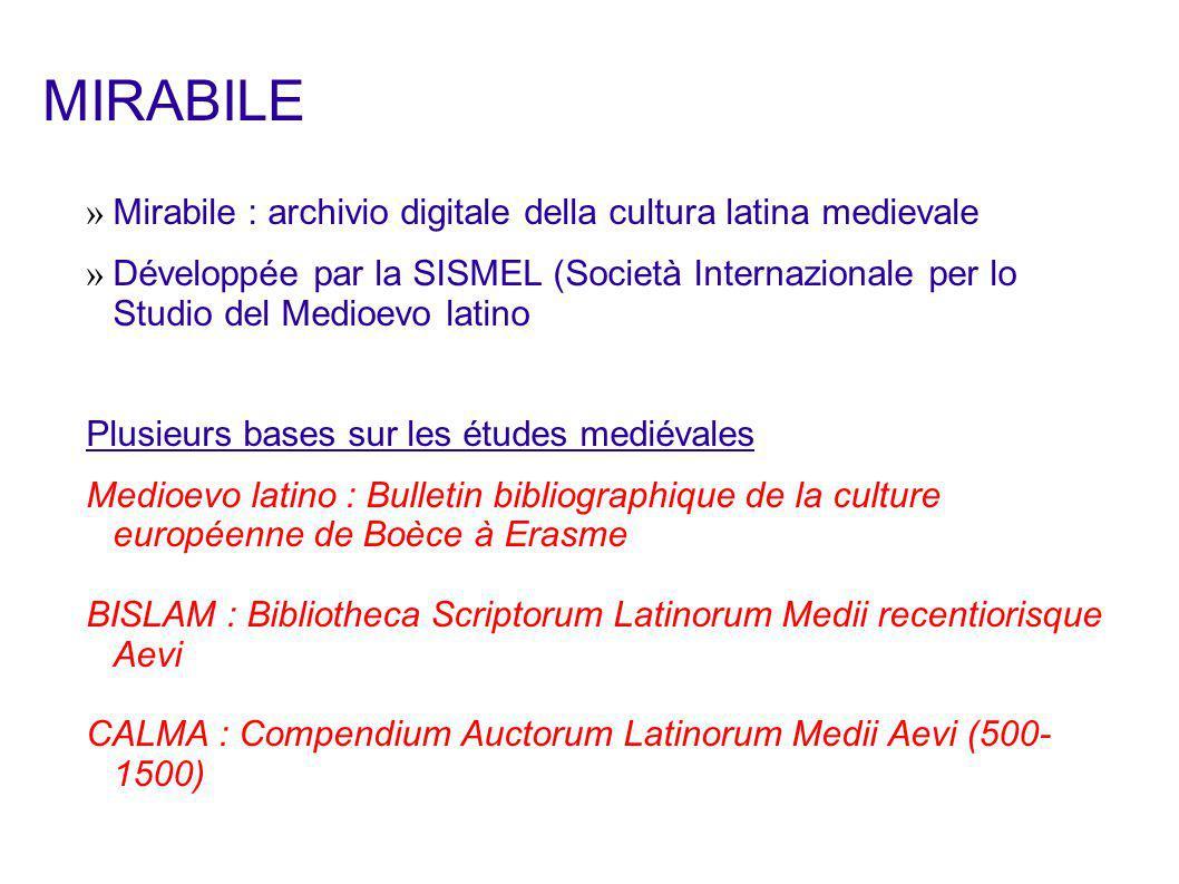 » Version informatisée de la bibliographie imprimée » Recense les monographies et articles de revues concernant la culture latine mediévale en particulier, et plus généralement la culture et l histoire mediévales.