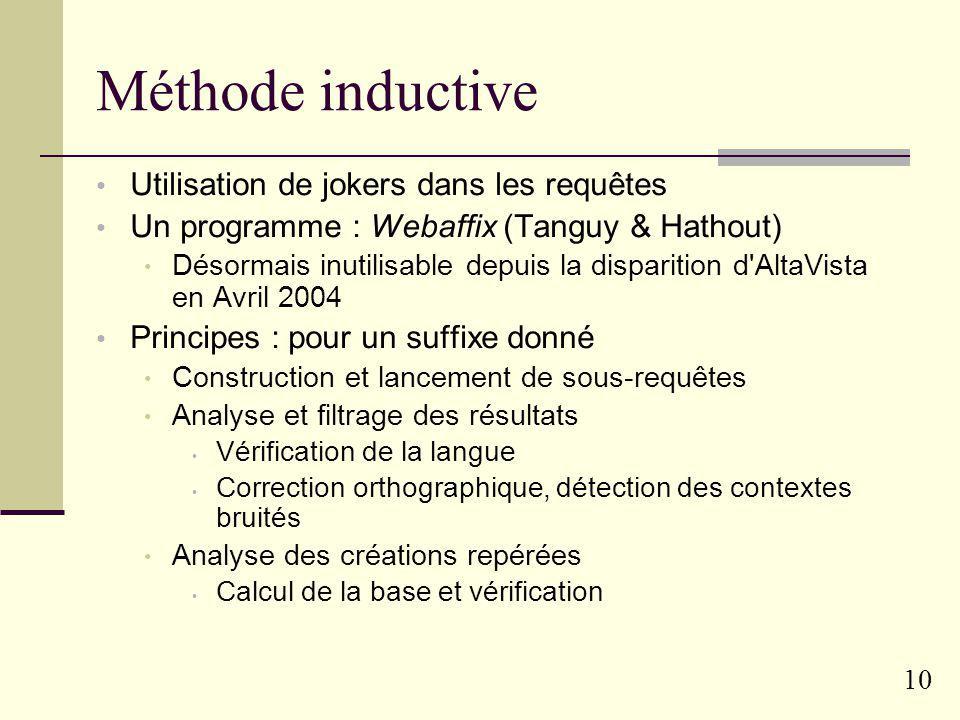 9 Méthode hypothético-déductive Adaptée aux créations dérivées à partir de bases connues Exemple : verbe nom par suffixation Système Walim (F. Namer)
