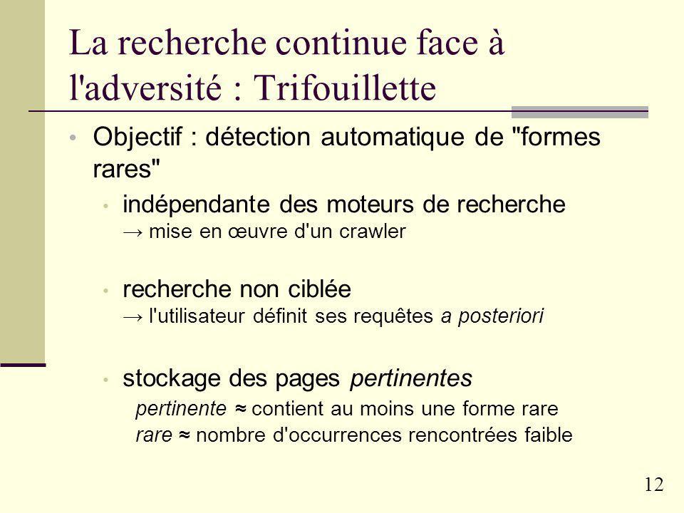 11 Exemples de campagnes passées Adjectifs en –este 1 attestation avant 1997 (silvio-pelliqueste), 14 en 2004 (algueste, bangueste, big-bangueste, bla