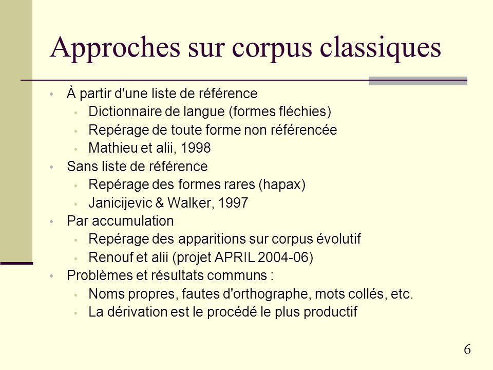 5 Exemples d'études à l'ERSS Étude de suffixes particuliers -able, -esque, -este, -ien, -ouill-, etc. Recensement des formes puis analyse Travaux de M