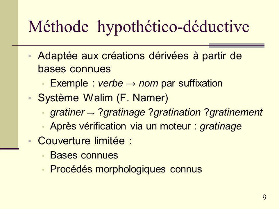 9 Méthode hypothético-déductive Adaptée aux créations dérivées à partir de bases connues Exemple : verbe nom par suffixation Système Walim (F.