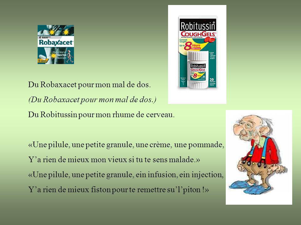 M en revenant de su l Docteur Brochu (M en revenant de su l Docteur Brochu) Avec ma liste de maladies dins mains Jai rencontré mon ami Jean Coutu. (Ja