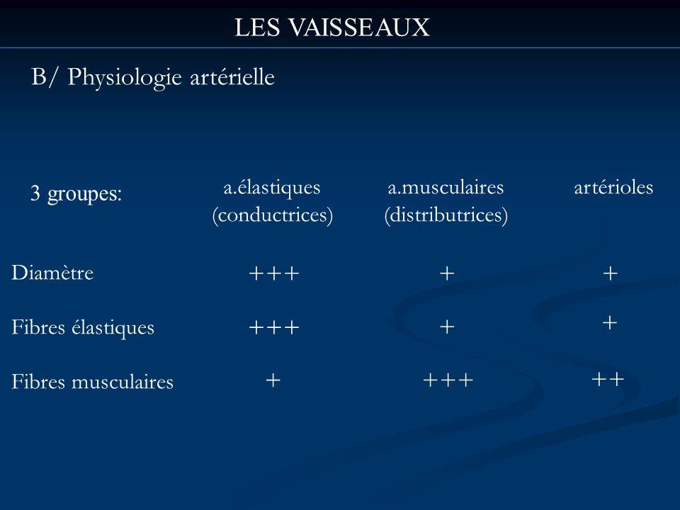 LES VAISSEAUX B/ Physiologie artérielle 3 groupes: Diamètre Fibres élastiques Fibres musculaires a.élastiques (conductrices) a.musculaires (distributr