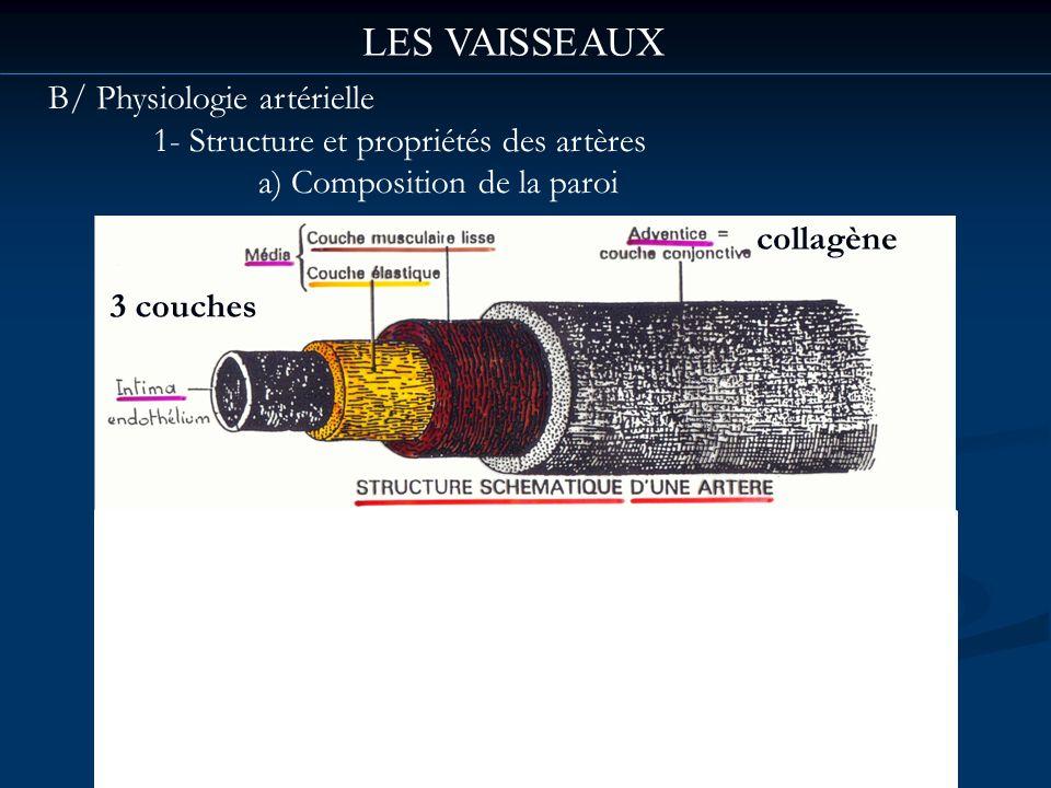 LES VAISSEAUX B/ Physiologie artérielle 1- Structure et propriétés des artères a) Composition de la paroi 3 couches collagène
