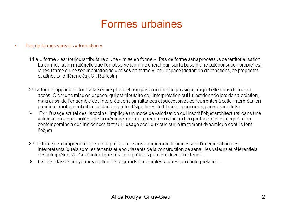 Alice Rouyer Cirus-Cieu2 Formes urbaines Pas de formes sans in- « formation » 1/La « forme » est toujours tributaire dune « mise en forme ».