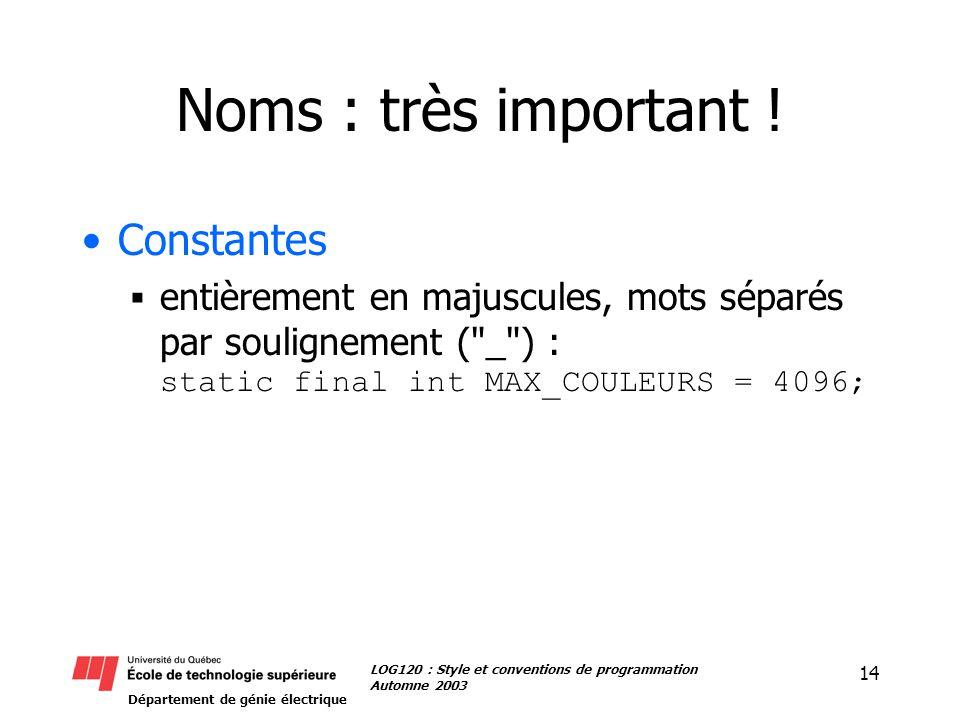 Département de génie électrique 14 LOG120 : Style et conventions de programmation Automne 2003 Noms : très important .