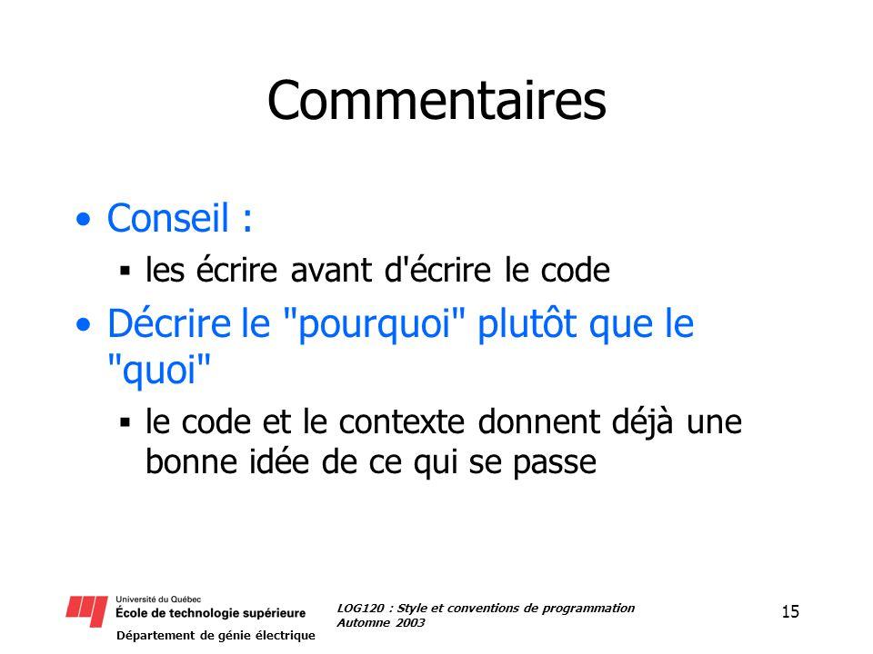 Département de génie électrique 15 LOG120 : Style et conventions de programmation Automne 2003 Commentaires Conseil : les écrire avant d écrire le code Décrire le pourquoi plutôt que le quoi le code et le contexte donnent déjà une bonne idée de ce qui se passe