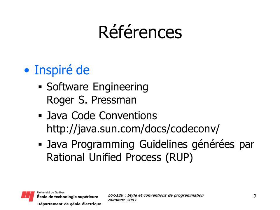 Département de génie électrique 3 LOG120 : Style et conventions de programmation Automne 2003 Conventions LOG120 Ces conventions vous sont imposées Le non respect peut entraîner la perte de points (jusqu à 10%) Pour plus de détails / exemples, voir http://java.sun.com/docs/codeconv/