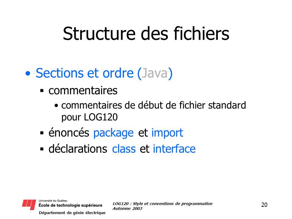 Département de génie électrique 20 LOG120 : Style et conventions de programmation Automne 2003 Structure des fichiers Sections et ordre (Java) commentaires commentaires de début de fichier standard pour LOG120 énoncés package et import déclarations class et interface