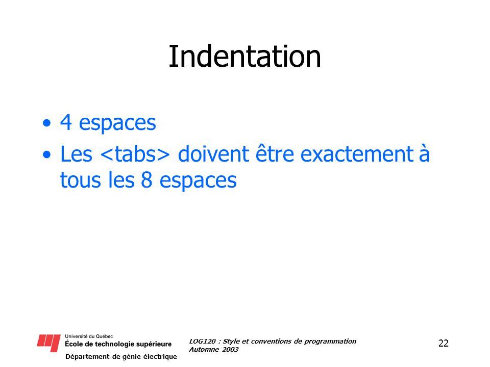 Département de génie électrique 22 LOG120 : Style et conventions de programmation Automne 2003 Indentation 4 espaces Les doivent être exactement à tous les 8 espaces