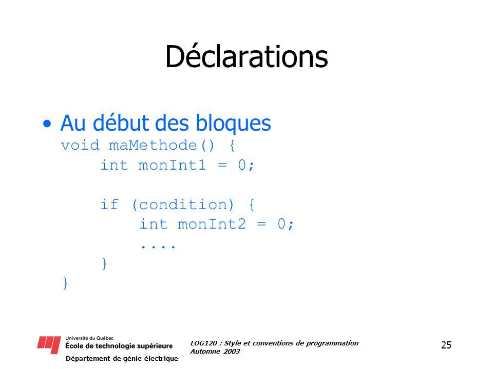 Département de génie électrique 25 LOG120 : Style et conventions de programmation Automne 2003 Déclarations Au début des bloques void maMethode() { in
