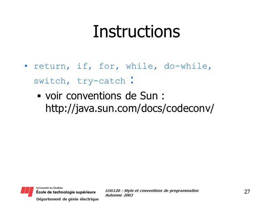 Département de génie électrique 27 LOG120 : Style et conventions de programmation Automne 2003 Instructions return, if, for, while, do-while, switch,