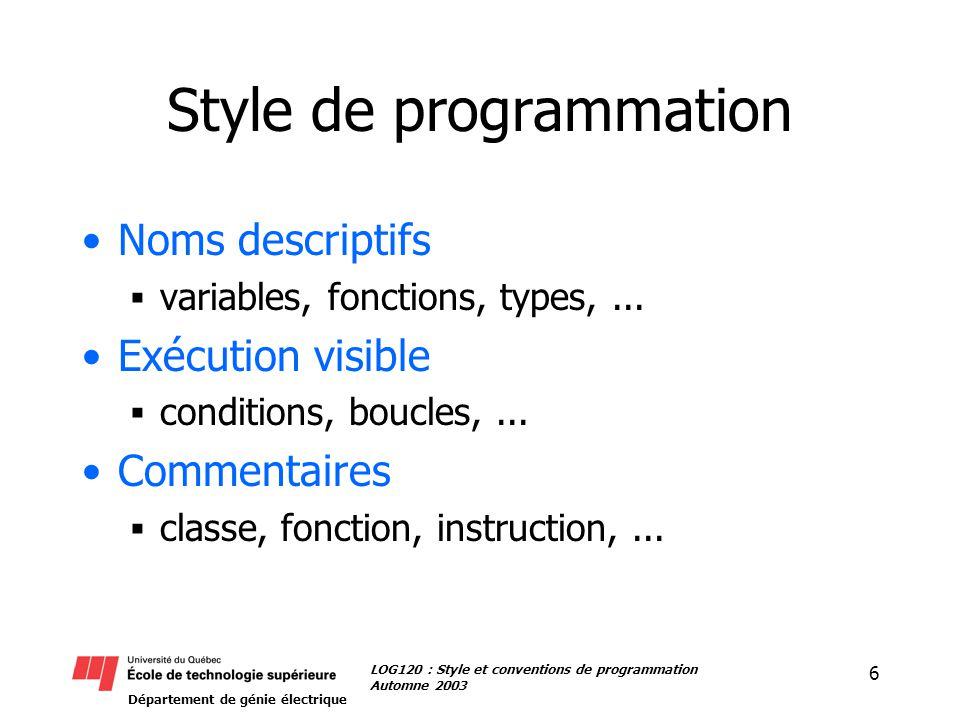 Département de génie électrique 6 LOG120 : Style et conventions de programmation Automne 2003 Style de programmation Noms descriptifs variables, fonctions, types,...