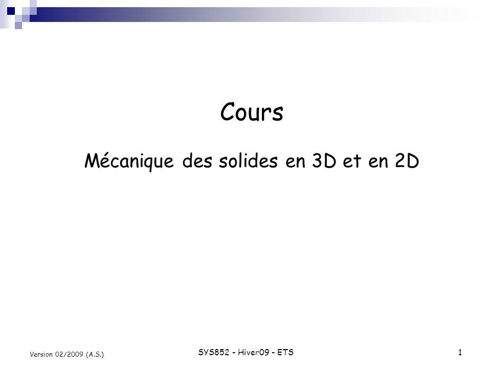 SYS852 - Hiver09 - ETS2 Version 02/2009 (A.S.) Équations déquilibre en 3D Seconde Loi de Newton : État plan de contrainte : force/masse accélération