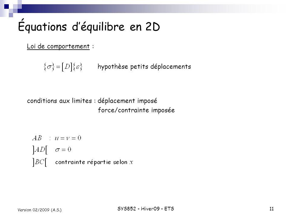 SYS852 - Hiver09 - ETS11 Version 02/2009 (A.S.) Équations déquilibre en 2D Loi de comportement : État plan de contrainte : conditions aux limites : dé