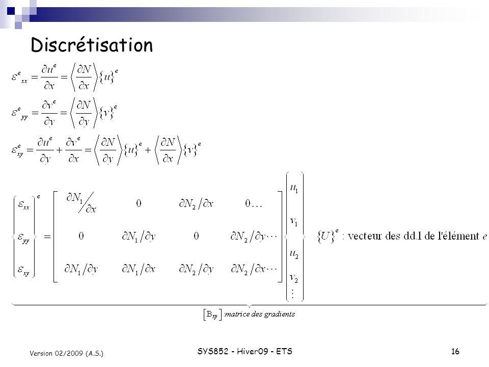 SYS852 - Hiver09 - ETS16 Version 02/2009 (A.S.) Discrétisation