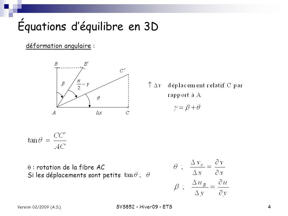 SYS852 - Hiver09 - ETS5 Version 02/2009 (A.S.) Équations déquilibre en 3D Langle de cisaillement cas particulier rotation de lélément sans cisaillement inconnues : : 6 composantes en 3D déplacements en 3D : Loi de comportement du matériau : Loi de Hooke pour une barre E = module de Young État plan de contrainte :