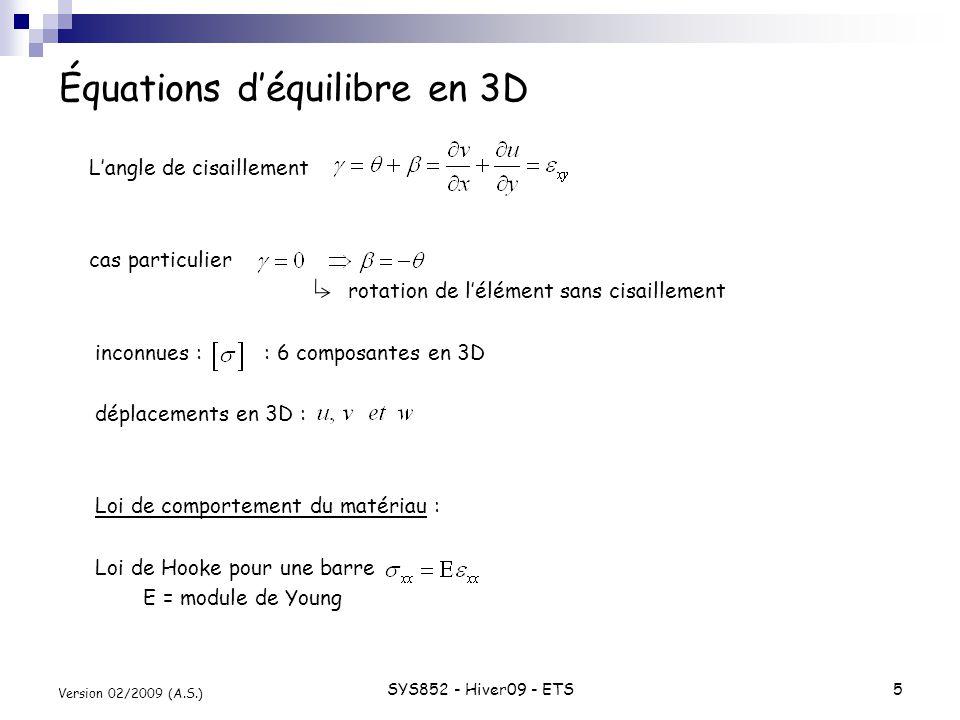 SYS852 - Hiver09 - ETS5 Version 02/2009 (A.S.) Équations déquilibre en 3D Langle de cisaillement cas particulier rotation de lélément sans cisaillemen