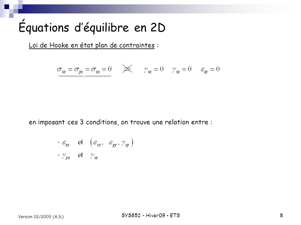 SYS852 - Hiver09 - ETS8 Version 02/2009 (A.S.) Équations déquilibre en 2D Loi de Hooke en état plan de contraintes : en imposant ces 3 conditions, on