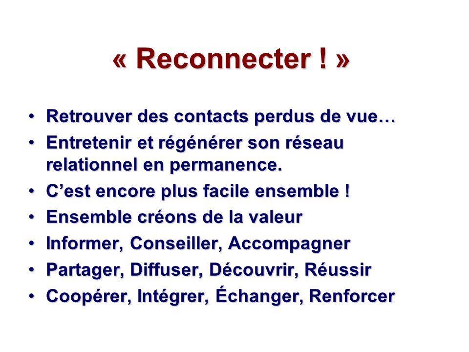 « Reconnecter ! » Retrouver des contacts perdus de vue…Retrouver des contacts perdus de vue… Entretenir et régénérer son réseau relationnel en permane