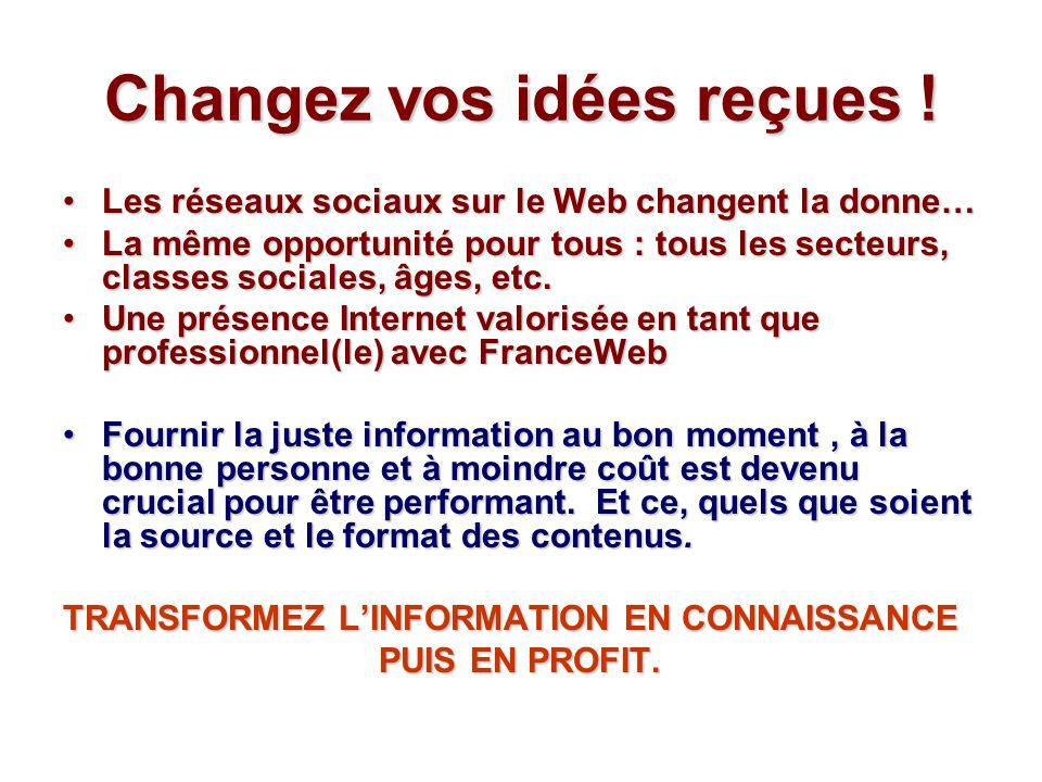 Changez vos idées reçues ! Les réseaux sociaux sur le Web changent la donne…Les réseaux sociaux sur le Web changent la donne… La même opportunité pour