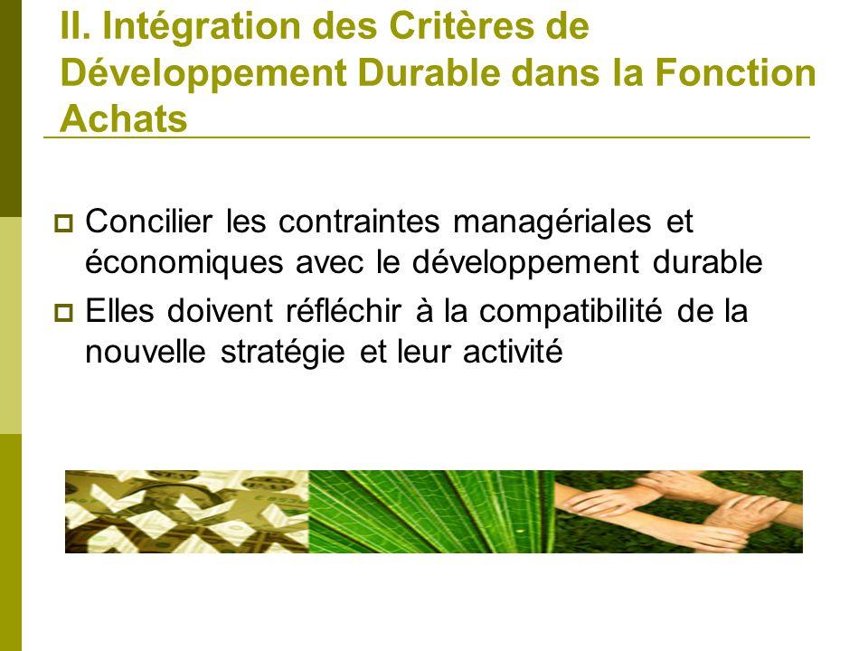 II. Intégration des Critères de Développement Durable dans la Fonction Achats Concilier les contraintes managériales et économiques avec le développem