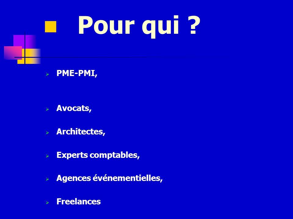 PME-PMI, Avocats, Architectes, Experts comptables, Agences événementielles, Freelances Pour qui