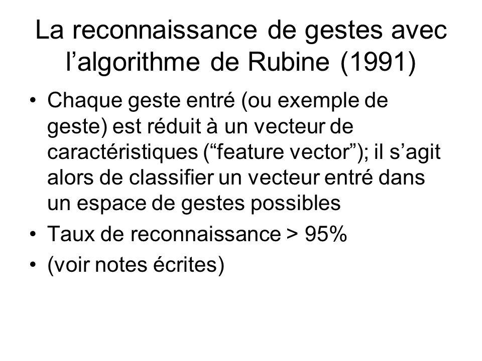 La reconnaissance de gestes avec lalgorithme de Rubine (1991) Chaque geste entré (ou exemple de geste) est réduit à un vecteur de caractéristiques (fe