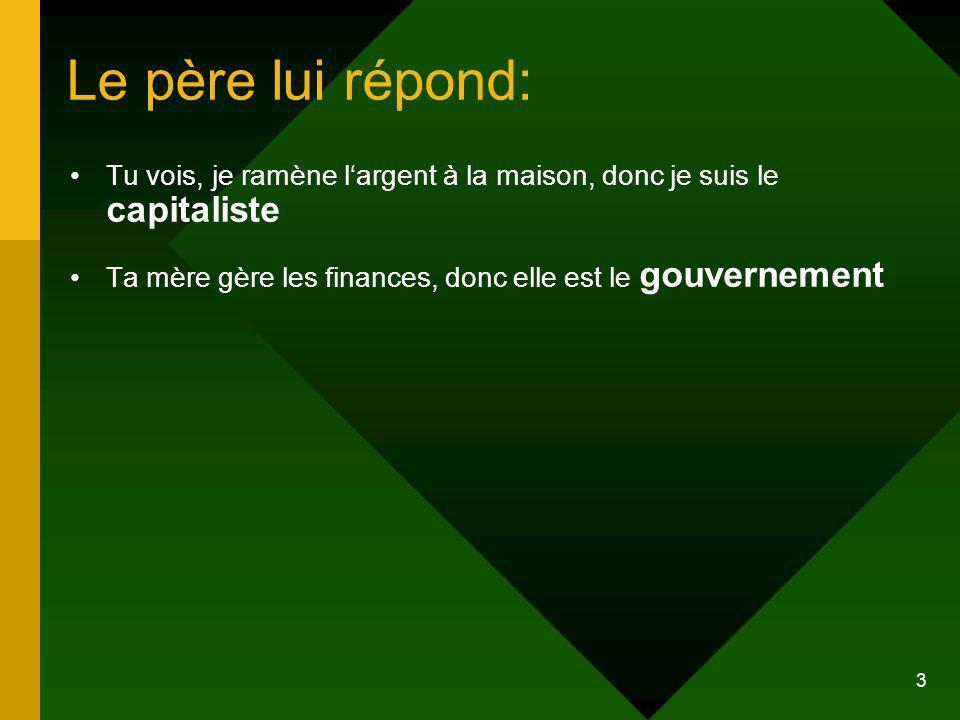 3 Le père lui répond: Tu vois, je ramène largent à la maison, donc je suis le capitaliste Ta mère gère les finances, donc elle est le gouvernement