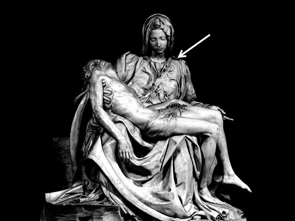La Piéta (1,74 m x 1,94 m) fut sculptée vers 1498-1499 Michel Ange détacha lui-même les blocs de marbre les plus appropiés dans les carrières des Alpe