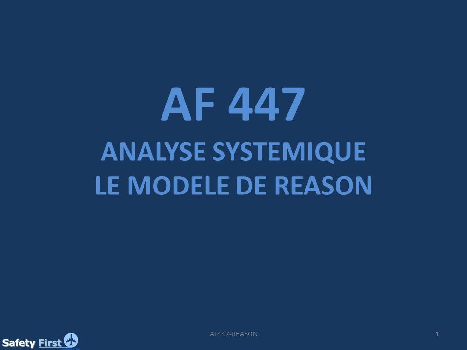 2AF447-REASON Extrait : 4.4.12 « Les conditions dangereuses latentes peuvent /…/ avoir été présentes dans le système bien avant un accident et sont généralement créées par les décideurs, les autorités de réglementation et dautres personnes très éloignées dans le temps et dans lespace de laccident.