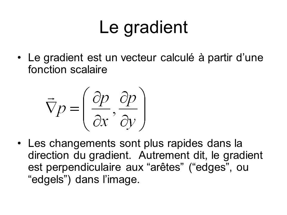 Le gradient Le gradient est un vecteur calculé à partir dune fonction scalaire Les changements sont plus rapides dans la direction du gradient. Autrem