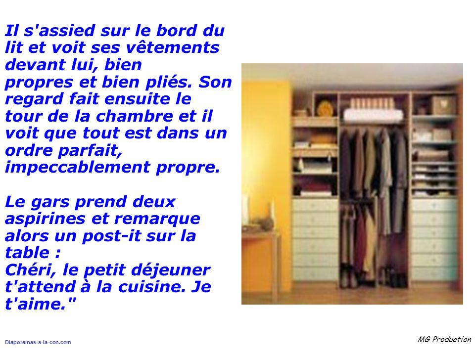Diaporamas-a-la-con.com MG Production Il s assied sur le bord du lit et voit ses vêtements devant lui, bien propres et bien pliés.