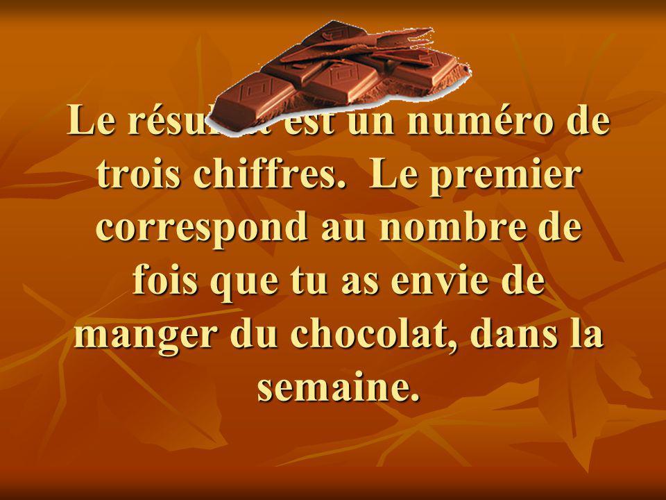 Le résultat est un numéro de trois chiffres. Le premier correspond au nombre de fois que tu as envie de manger du chocolat, dans la semaine.