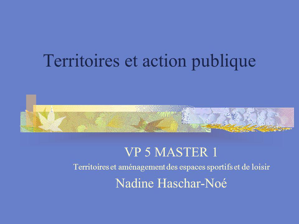 Territoires et action publique VP 5 MASTER 1 Territoires et aménagement des espaces sportifs et de loisir Nadine Haschar-Noé
