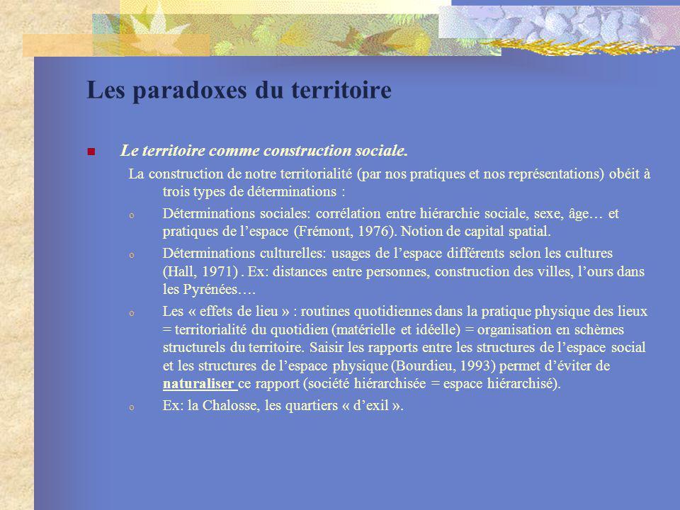 Les paradoxes du territoire Le territoire comme construction sociale. La construction de notre territorialité (par nos pratiques et nos représentation