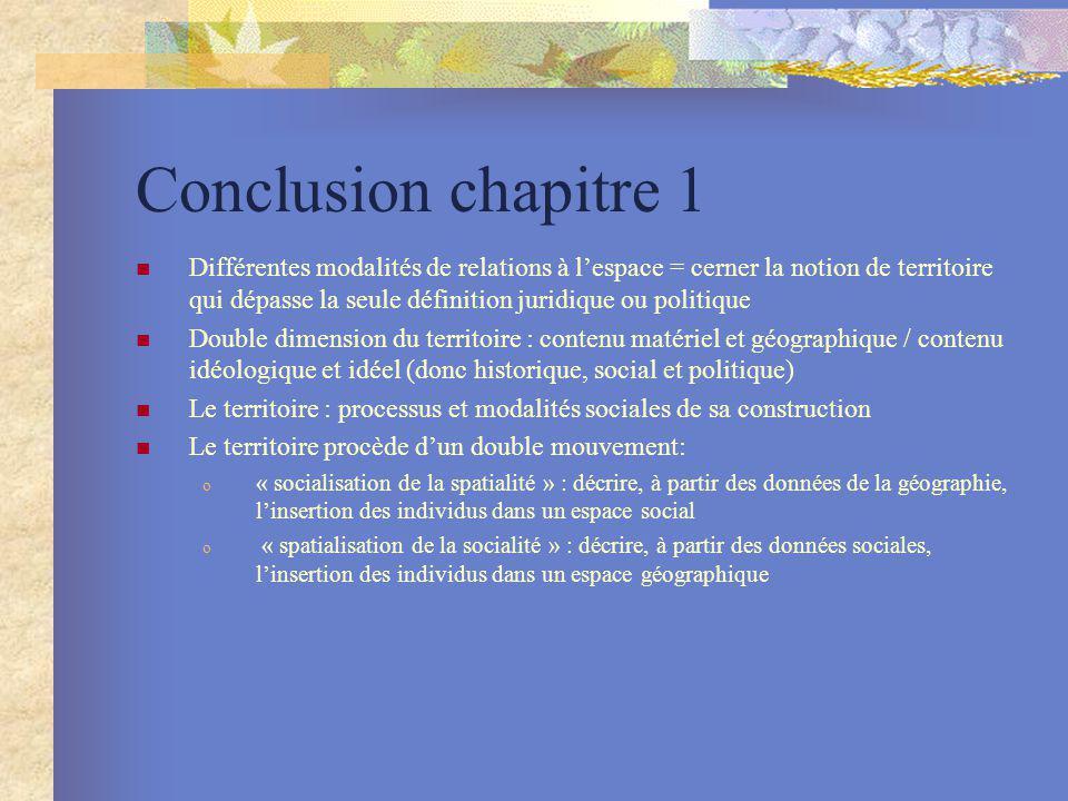 Conclusion chapitre 1 Différentes modalités de relations à lespace = cerner la notion de territoire qui dépasse la seule définition juridique ou polit