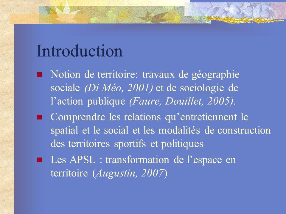 Introduction Notion de territoire: travaux de géographie sociale (Di Méo, 2001) et de sociologie de laction publique (Faure, Douillet, 2005). Comprend