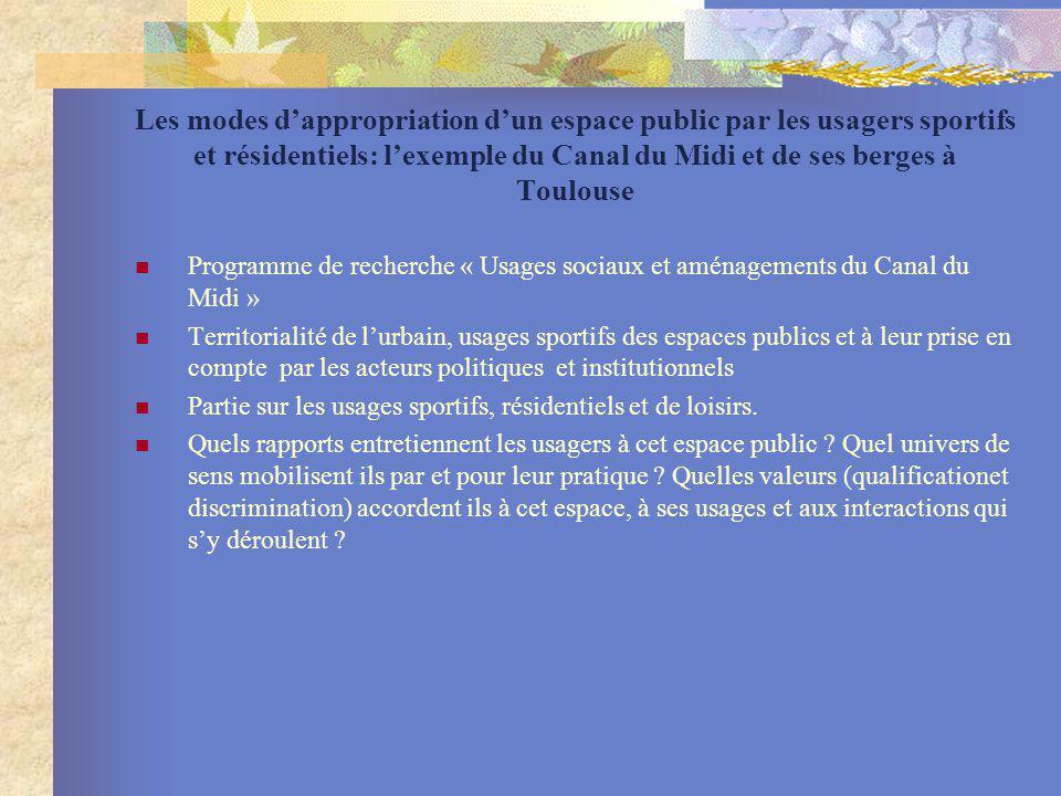 Les modes dappropriation dun espace public par les usagers sportifs et résidentiels: lexemple du Canal du Midi et de ses berges à Toulouse Programme d