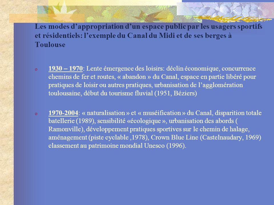Les modes dappropriation dun espace public par les usagers sportifs et résidentiels: lexemple du Canal du Midi et de ses berges à Toulouse o 1930 – 19