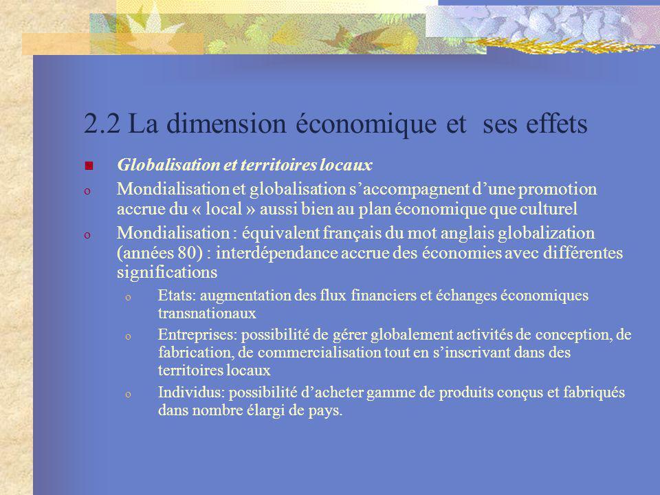 2.2 La dimension économique et ses effets Globalisation et territoires locaux o Mondialisation et globalisation saccompagnent dune promotion accrue du