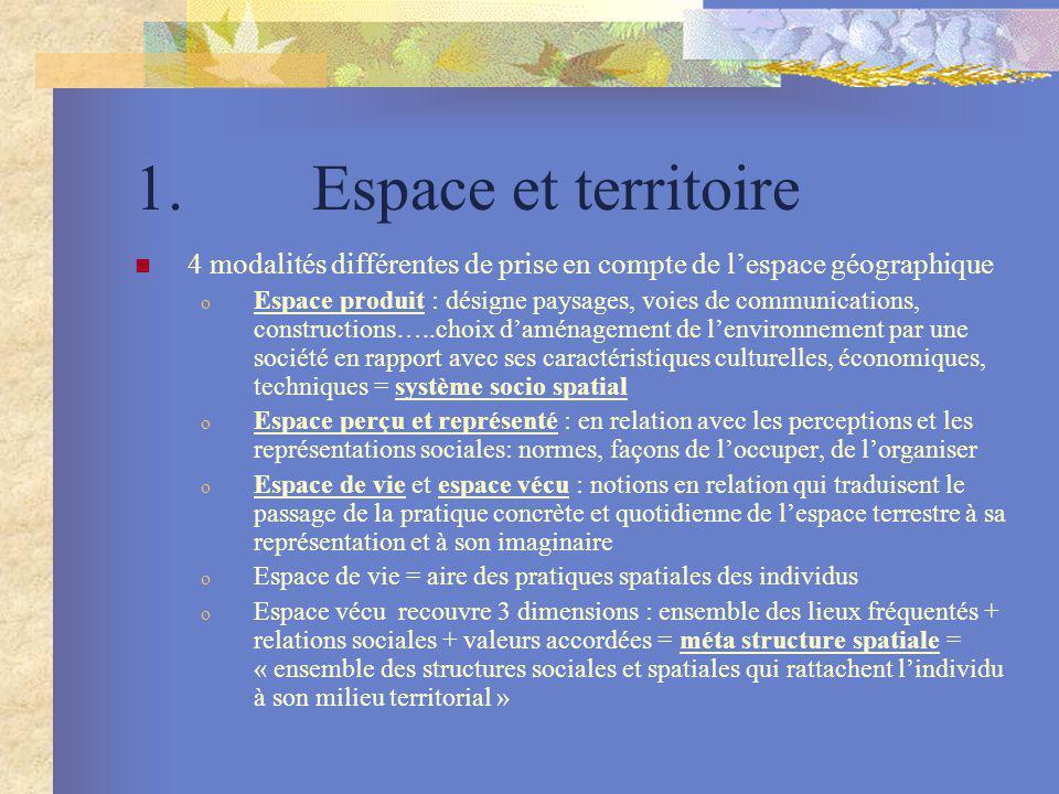 1. Espace et territoire 4 modalités différentes de prise en compte de lespace géographique o Espace produit : désigne paysages, voies de communication