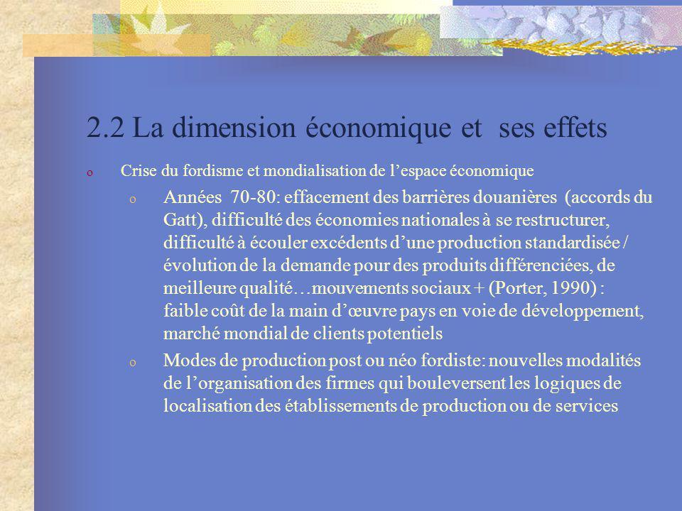 2.2 La dimension économique et ses effets o Crise du fordisme et mondialisation de lespace économique o Années 70-80: effacement des barrières douaniè