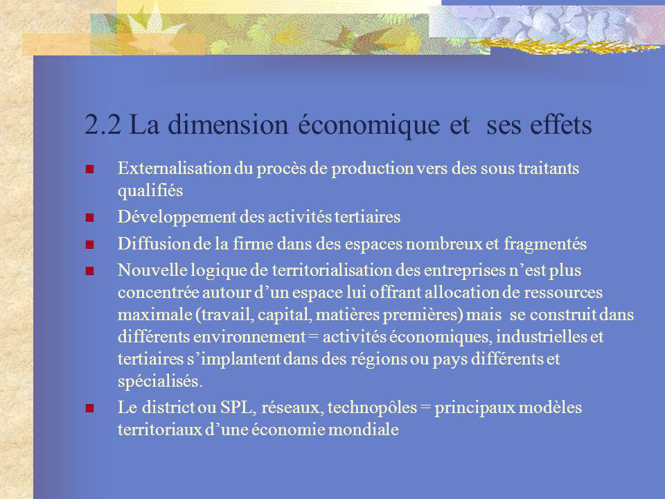 2.2 La dimension économique et ses effets Externalisation du procès de production vers des sous traitants qualifiés Développement des activités tertia