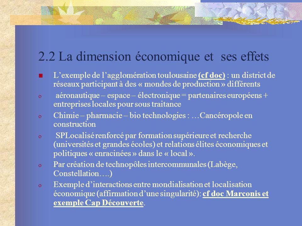 2.2 La dimension économique et ses effets Lexemple de lagglomération toulousaine (cf doc) : un district de réseaux participant à des « mondes de produ